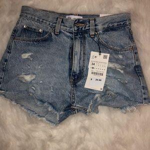 Size 2 NEW Zara Hi rise frayed blue jean shorts